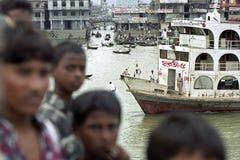Crowded boat terminal Sadarghat, Dhaka, Bangladesh Royalty Free Stock Image
