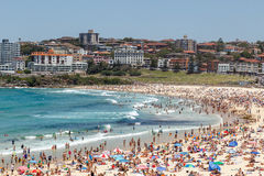 Crowded Bondi Beach. On a hot summer day. Located pretty close to the Sydney`s CBD, Bondi as it is called by Sydneysiders attracts tourists and locals alike royalty free stock images