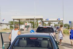 Crowded at the border crossing stock photos