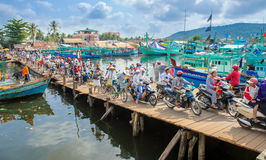 Crowded bridge at the harbour on phu quoc island