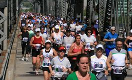 Crowded Bridge during Marathon Stock Images