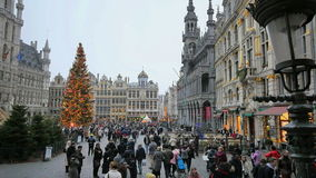 Crowded Brussels Grand Place in Christmas stock video footage