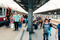 Crowded Bucharest North train station platform Royalty Free Stock Photo