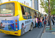 Crowded bus. At rush hour of chengdu,china.Photo is taken on 25 May 2011 Royalty Free Stock Images