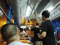 The crowded bus carriages were crowded with passengers. In Shenzhen, China Royalty Free Stock Images