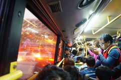 Crowded bus compartment, in Shenzhen Royalty Free Stock Images
