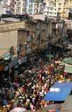 Crowded, busy scene at market on Viet Nam Tet ( Lunar New Year) Royalty Free Stock Photo