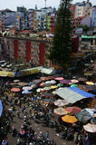 Crowded, busy scene at market on Viet Nam Tet Stock Image