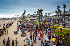 Crowded California Beach. California beach crowded during the US Open Stock Photography