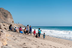 Crowded california beaches near Los Angeles city with a clear blue sky and yellow sand on the coast Stock Photography