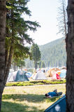 Crowded camping Royalty Free Stock Photography