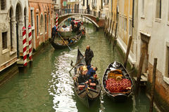 Crowded canal in Venice with gondolas Stock Photography