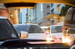 Crowded car in the evening Royalty Free Stock Images
