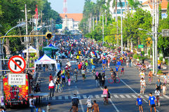 Crowded car free day. Car free day in Semarang City, Indonesia used for biking, jogging and relaxing Stock Photography