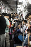 Crowded carridge on subway train, China Stock Photography