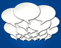 Crowded Chat Bubbles Conversation. Crowded blank chat bubbles conversation on blue background vector illustration