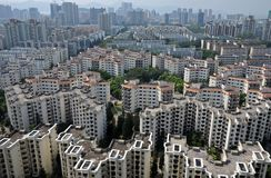 Crowded City. Cityscape of crowded apartment buildings stock photos