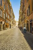 An crowded commercial street in Rome, Italy. Royalty Free Stock Images