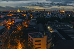 Crowded community in Thailand. Many building and house and temple are center Royalty Free Stock Photography
