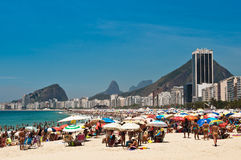 Crowded Copacabana beach on hot summer day, Rio de Janeiro, Brazil Royalty Free Stock Image