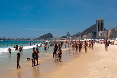Crowded Copacabana beach on hot summer day, Rio de Janeiro, Brazil Stock Photography