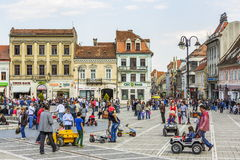 Crowded Council Square, Brasov, Romania Stock Photo