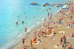 Crowded Crimea beach Stock Photography
