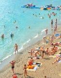 Crowded Crimea beach Royalty Free Stock Photo