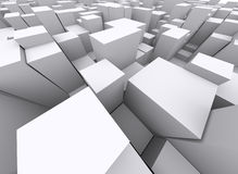 Crowded 3d blocks. Upper view stock illustration
