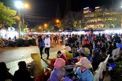 Crowded, Dalat night market, marketplace, shopping royalty free stock photo
