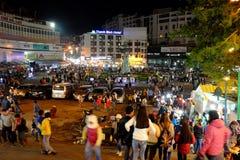 Crowded, Dalat night market, marketplace, shopping royalty free stock images