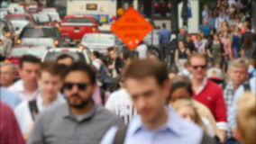 Crowded Downtown Financial Chicago Loop Defocused