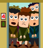 Crowded elevator. Cute cartoon people with unhappy faces inside a crowded elevator Royalty Free Stock Photo