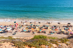 Crowded Falesia Beach seen from the cliff Royalty Free Stock Photo