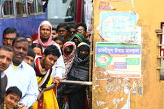 Crowded ferry. People waiting in line to enter the ferry across a river in Bangladesh Royalty Free Stock Image