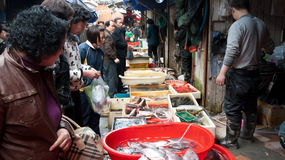Crowded fish market stall, China Stock Photos