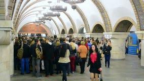 Crowded Golden Gate Zoloti Vorota subway station in Kiev, Ukraine,. KIEV - MAY 18: crowded Golden Gate Zoloti Vorota subway station on May 18, 2016 in Kiev stock video
