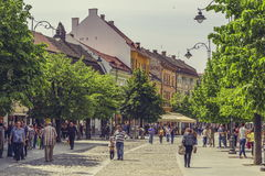 Crowded historic center of Sibiu city, Romania Royalty Free Stock Photo