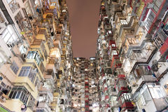 Crowded Hong Kong. Very Crowded but colorful building group in Hong Kong stock images