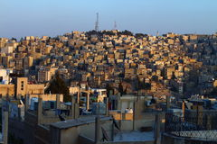 Crowded houses. In the area of ​​old Amman, the capital of Jordan, Middle East stock image