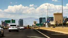 Crowded interstate in Las Vegas royalty free stock photography