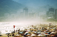 Crowded Ipanema Beach Rio de Janeiro Brazil Busy Day Stock Photo