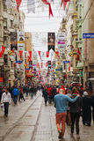Crowded istiklal street with tourists in Istanbul Royalty Free Stock Image