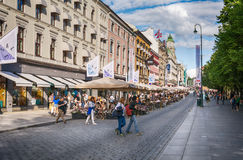 Crowded Karl Johans gate, Oslo, Norway Royalty Free Stock Photography