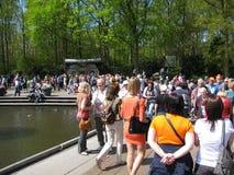 Crowded Keukenhof flower park Royalty Free Stock Image