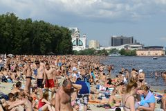 Crowded Kiev Beach Stock Photography