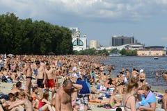 Crowded Kiev Beach. On Dnepr river stock photography