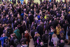 Crowded Kings Cross station in London Royalty Free Stock Photo