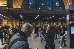 Crowded Kings Cross station in London Stock Photos