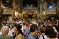 Crowded La Merced Church Service in Barcelona Spain. Photo of church service at la merced church in barcelona spain on 9/23/18. This church is very popular stock photography